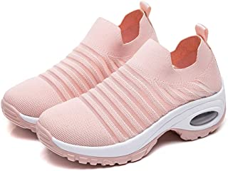 AUCDK Women Sock Sneakers Lightweight Sports Shoes Breathable Slip on Trainers Low Top Road Running Shoes