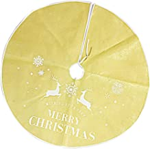 Prettyia Tree Skirt 35 inch Xmas Holiday Tree Ornaments Base Floor Mat Cover Party Decor - Gold