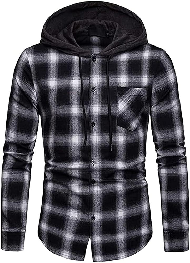 Kilborn·pataky Choice specialty shop Men's Flannel Shirts Sleeve Hoodi Long