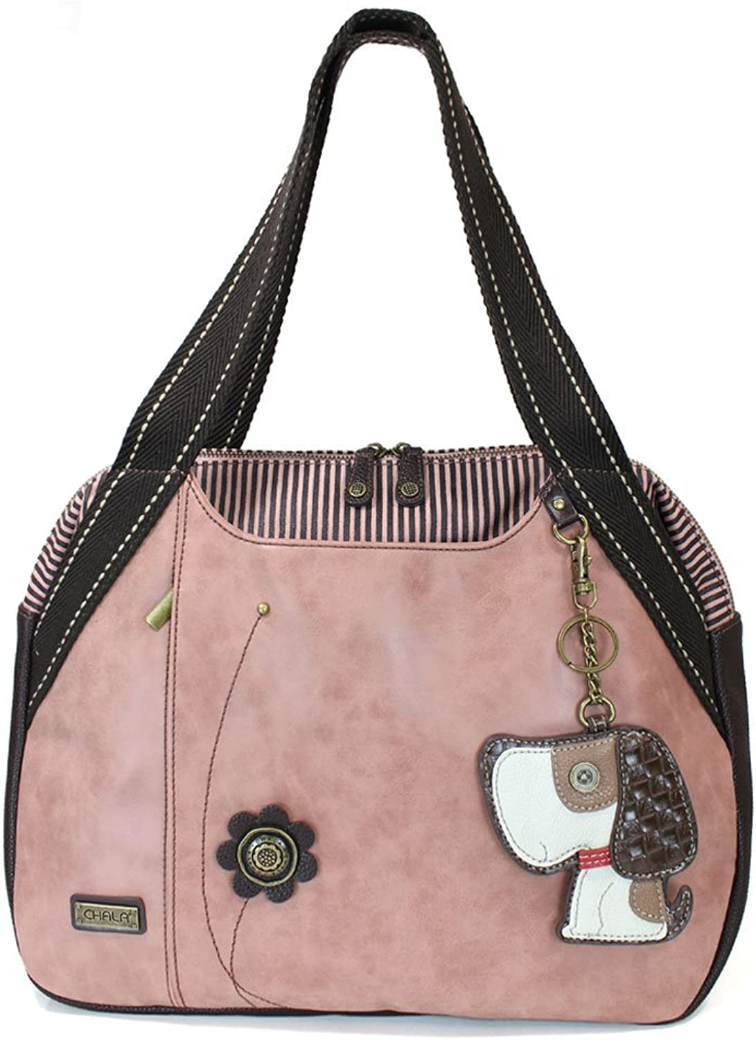 Chala Handbags Dust pink Shoulder Purse Tote Bag with Dog Key Fob coin purse