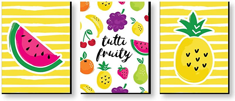 Big Dot Of Happiness Tutti Fruity Nursery Wall Art Kids Room And Decor Frutti Summer Home Decorations 7 5 X 10 Inches Set Of 3 Prints