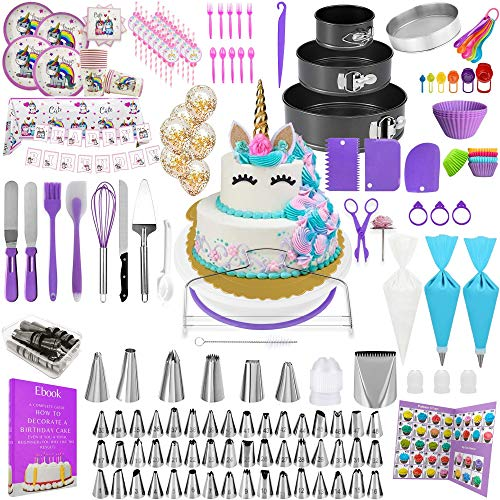 Cake Decorating Tools 410 pcs Cake Decorating Kit with Cake Turntable Unicorn Cake Decorating Supplies with Frosting Tips and Bags 102 Icing Piping Bags and Tips Set with 62 Piping Tips