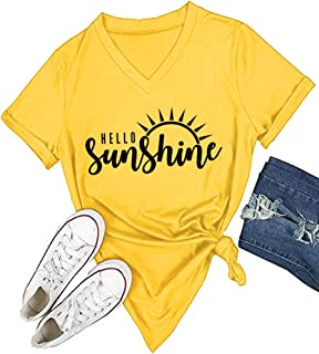 Womens Hello Sunshine Shirt Summer Short Sleeve V-Neck Graphic T-Shirt Nature Shirt Tops Tees