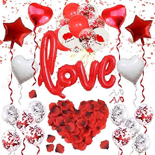 ASANMU Hochzeit Deko Set, 1000 Rosenblätter Rosen+Rot Love Luftballons+Herz Luftballons+Folienballon+Latex Luftballons für Romantische Hochzeit Valentinstag Dekoration Set Geburtstag Brautdusche Party