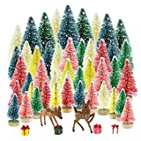 Yookat 51Pcs Mini Pine Trees Artificial Mini Trees with Wood Base Sisal Trees Bottle Brush Trees Assorted Color and Deer Boxes Winter Snow Ornaments for Christmas Decoration