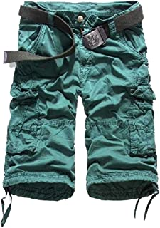 HEFASDM Men Cargo Tactical Work Solid Straight Back Cotton Boardshorts