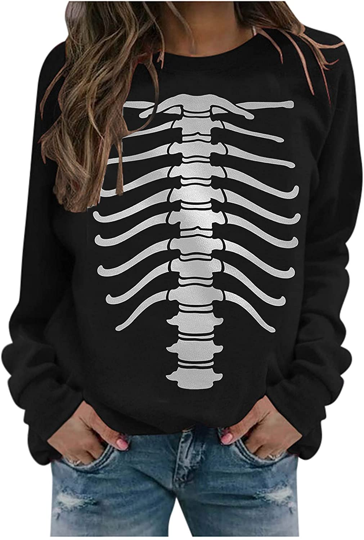 Women Halloween Skull Printed Sweatshirt Casual Long Sleeve O-Neck Tee Tops Loose Pullover Blouse Shirts