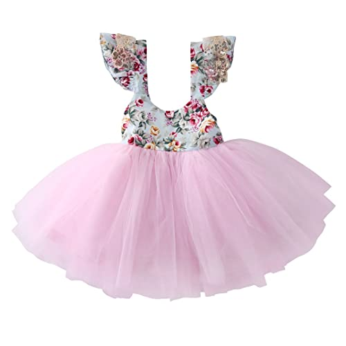 5c3bbb749109f4 Newborn Toddler Baby Girls Floral Dress Party Ball Gown Lace Tutu Formal  Dresses Sundress