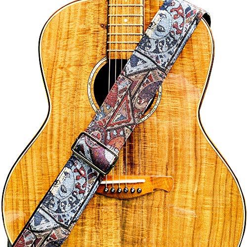 WINGO 6,3 cm breiter Gitarrengurt mit PU-Lederenden, verstellbar für Bass, elektrische und akustische klassische Gitarren und Jacquard-Gewebe mit Plektren.