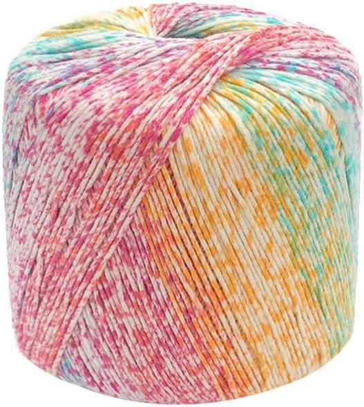 Healifty - 1 rollo de hilo de algodón para tejer, multicolor