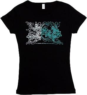 6.2oz速乾フライスTシャツ【ハイビスカス&プルメリア/黒×グラデーション(白~エメラルド・グリーン)】
