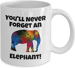 Elephant Lover Gift Mammoth African Mastodon Pachyderm Tusker, You'll Never Forget An Elephant Mug