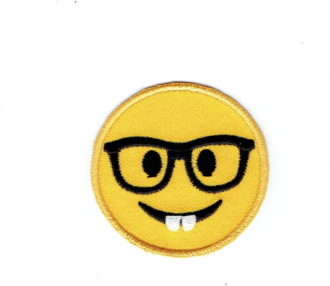 Low price Smiley Face Emoji Nerd with Glasses New item Embroidered - Iron Patch on