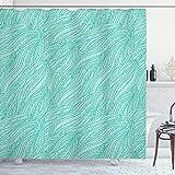 ABAKUHAUS Duschvorhang, Symmetrische Meeres Algen Muster Nautik in Blaugrünen Färbe Tonen Langhaltiger Digital Druck, Blickdicht aus Stoff inkl. 12 Ringen Umweltfre&lich Waschbar, 175 X 200 cm