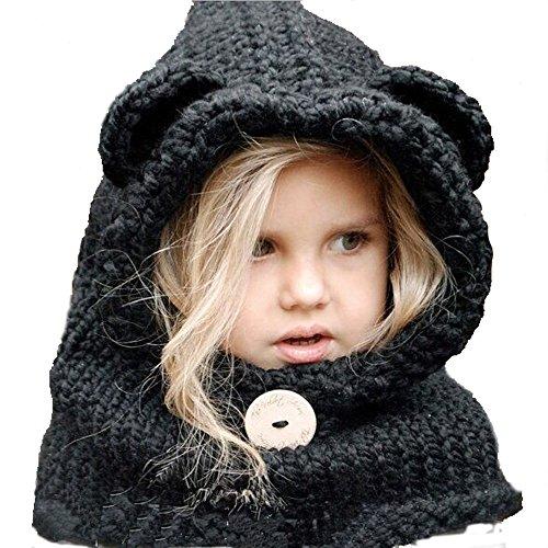 Baby Girls Boys Winter Hat Scarf Earflap Hood Scarves Caps (Black Panda 2-8year Old)