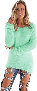 SHOBDW Mujer Suéter para Mujer Cuello Redondo Cárdigan Ocasional Sólido Suelto Otoño Invierno Tops de Manga Larga Cálido P...