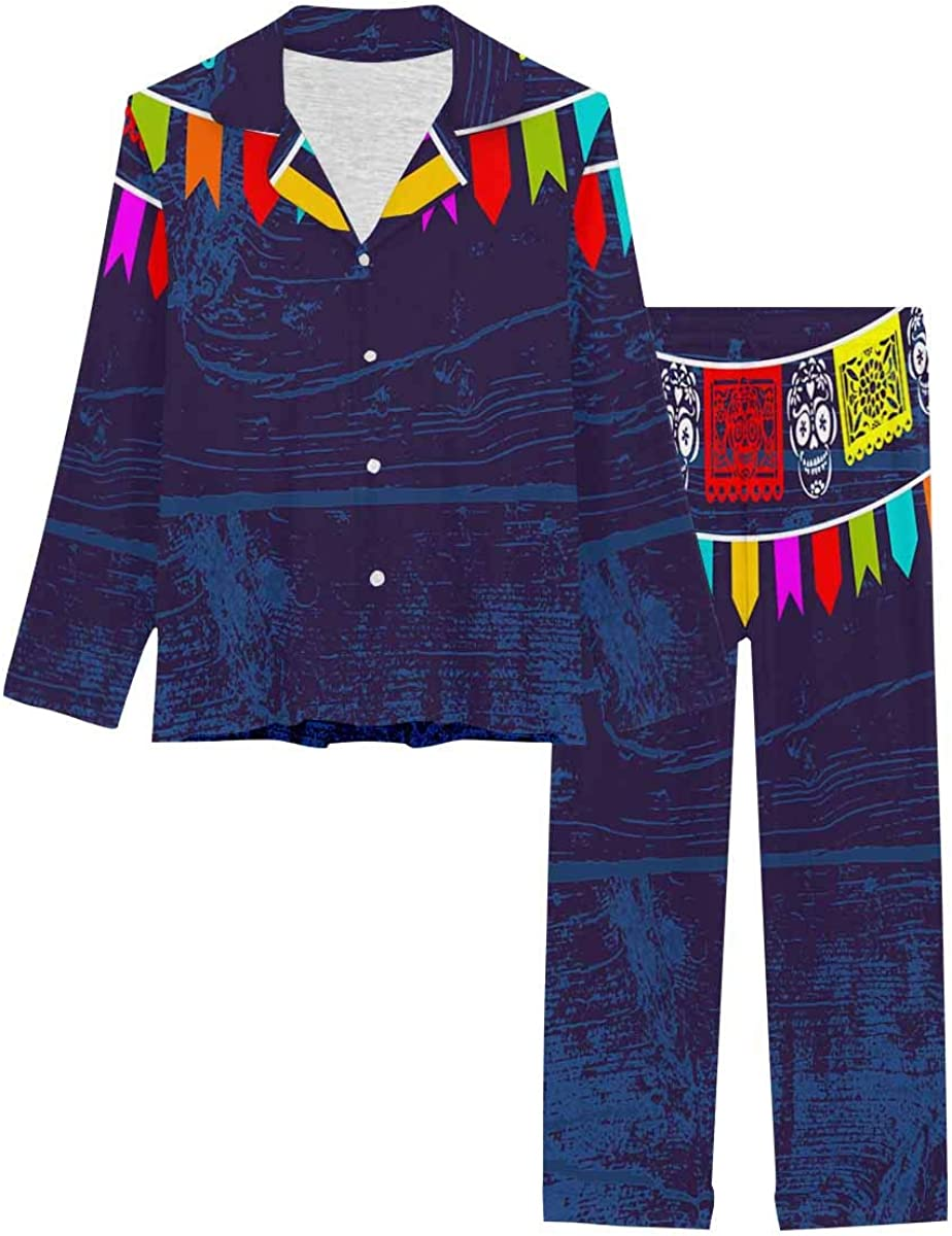 InterestPrint Button Down Nightwear Soft Long Sleeve Pj Set Day of the Dead Background with Paper Cut Flags