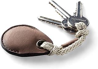 Leder AirTag Halter/Etui, Schlüsselanhänger, Wood Brown Schlüsselschleife handgefertigter Taschenanhänger Air Tag Cover Ha...