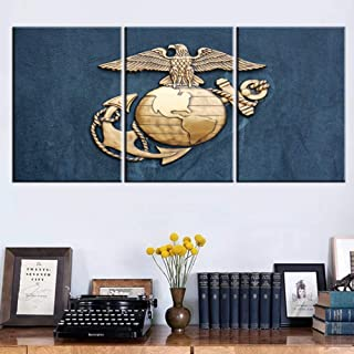American Marine Eagle Pictures for Living Room Anchor Brass Emblem Paintings Patriotism Artwork Canvas Wall Art Bedroom House Decor Giclee Wooden Framed Ready to Hang Posters and Prints(42''Wx20''H)