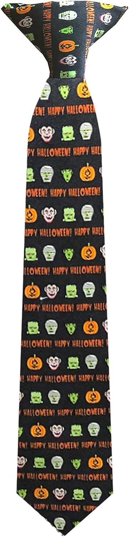 Boys' Prep Happy Halloween Monsters Frankenstein Mummy Witches Jack-O-'Lantern 14 inch Clip-On Neck Tie