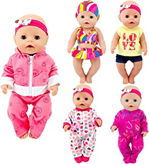 ebuddy Total 5 Sets Baby Doll Clothes Include Bikini Rompers for 43cm New Born Baby Dolls, 15 inch Dolls