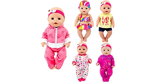 ebuddy Total 5 Sets Baby Doll Clothes Include Bikini Rompers for Dolls Like 43cm New Born Baby Dolls 15 inch Bitty Baby Doll
