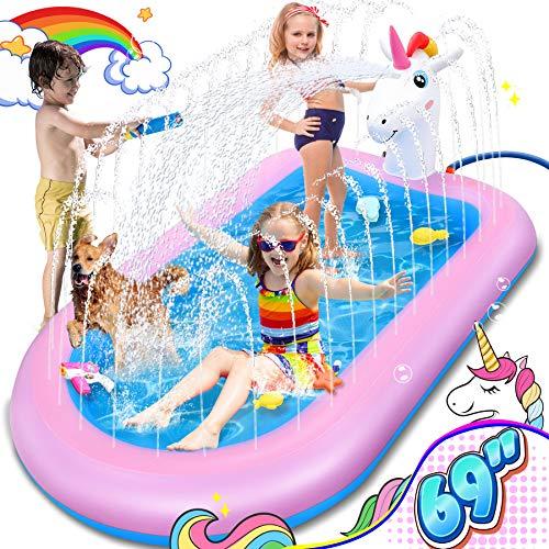 LETOMY Splash Pool & Pad, Einhorn Planschbecken Kinder Aufstellpool Sommergarten Outdoor Aktivitäten Sprinkler Wasserspielzeug für Kinder 175 * 120 * 50cm Aufblasbarer Pool Wasserspielmatte