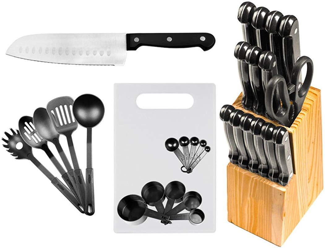 AVGDeals 29 Pc Stainless Steel Kitchen Knives Or Knife Set W Block Kitchen Utensils Cutlery Set Includes Various Styles Of Knives