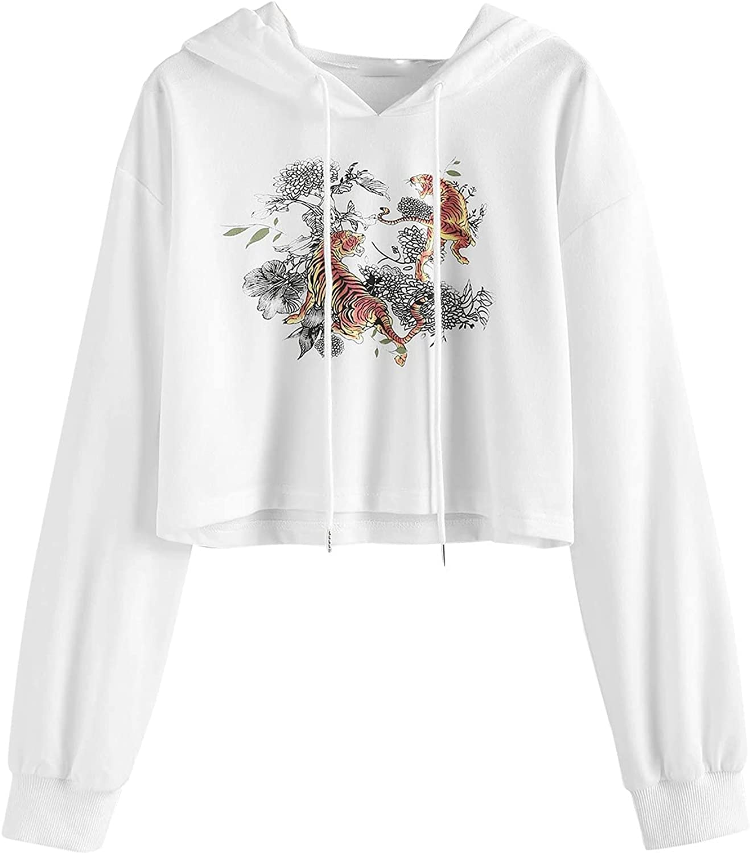 UOCUFY Hoodies for Women, Womens Pullover Sweatshirts Cute Printed Oversized Long Sleeve Drawstring Tops Sweatshirts