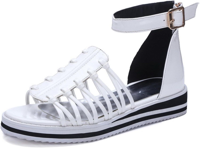 WeenFashion Women's Zipper Open Toe Low Heels Assorted color Sandals