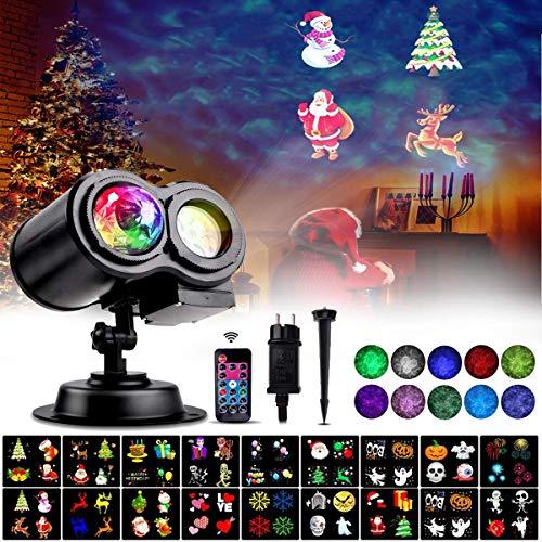 Proyector de Halloween, LED Luces de Proyector de Navidad con 18 Diapositivas de Patrón y Control Remoto, Lámpara de Proyección Decorativa Impermeable IP65 para Interiores y Exteriores