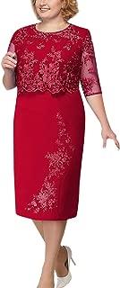 FAPIZI Womens Plus Size Lace Patchwork Dress Elegant Mother of Bride Dress Soft Comfy Cocktail Formal Dresses