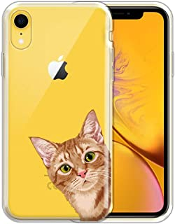 FINCIBO Case Compatible with Apple iPhone XR 6.1 inch, Clear Transparent TPU Silicone Protector Case Cover Soft Gel Skin for iPhone XR - Orange Tabby Kitten Cat Look for You