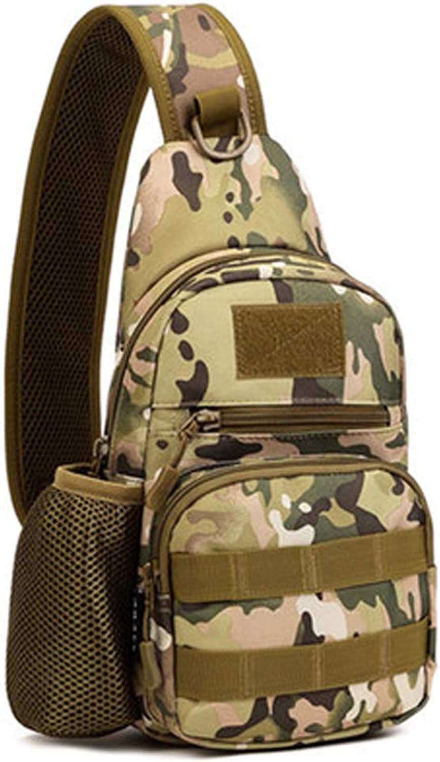 Camouflage Chest Bag, Outdoor Riding Shoulder Bag with Kettle Cover 20L Hiking Camping Casual Men's Bag Tactical Camouflage Small Multi Function Waterproof Backpack (color   Camouflage)