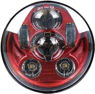 "چراغ موتور سیکلت 5.75 اینچ 5/3/4 ""چراغ جلو پروژکتور LED برای هارلی دیویدسون 883 Dyna Street Bob Sportster Wide Glide Low Rider چراغ جلو (قرمز)"