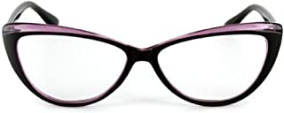 Colorful Two Tone Cat Eye Reading Glasses for Women (Purple +1.00) Carrying Case Included