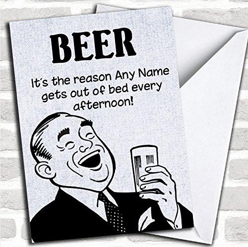 Grappige grap uit bed voor bier verjaardagskaart met envelop, kan volledig worden gepersonaliseerd, snel en gratis verzonden