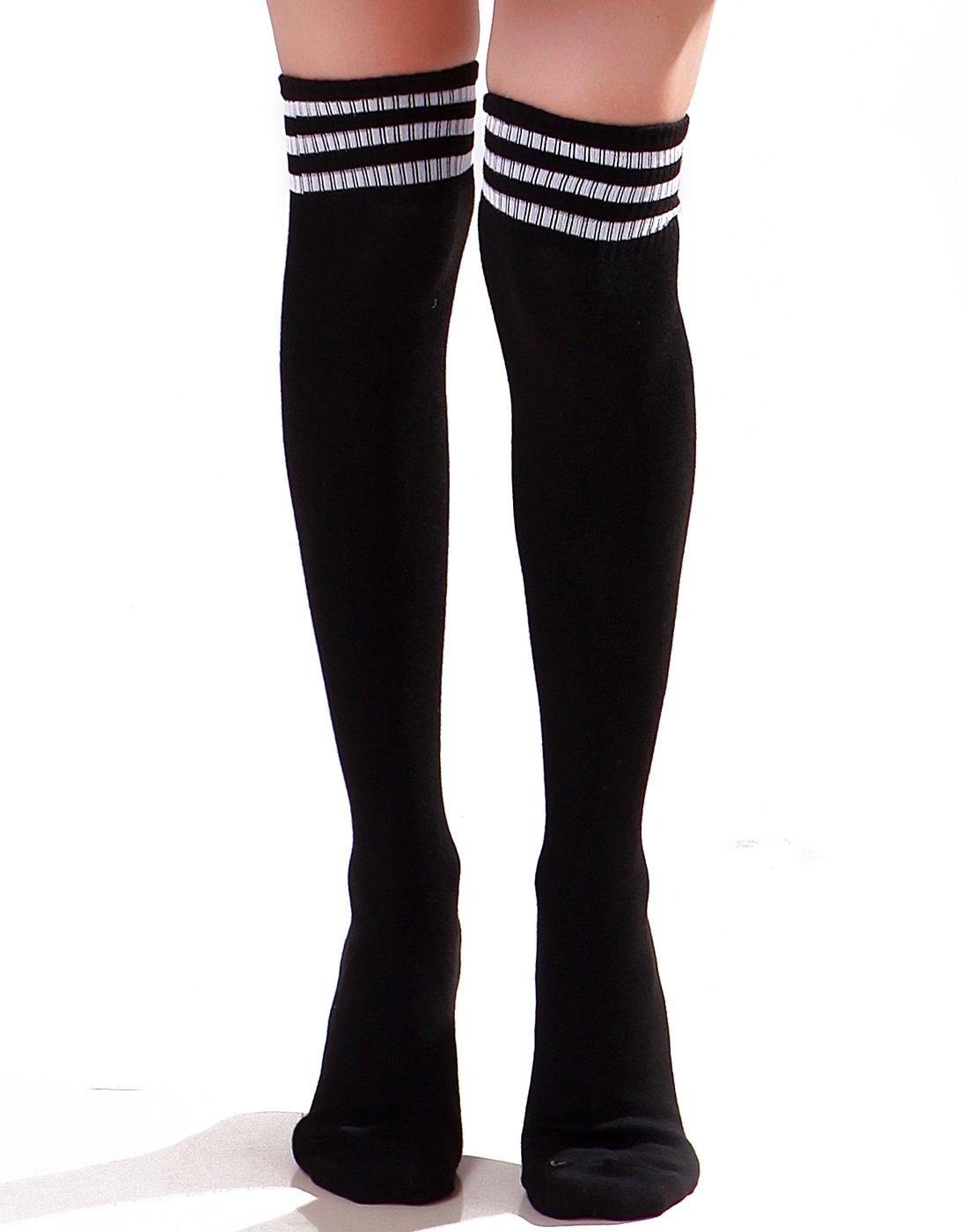 HDE Women Three Stripe Over Knee High Socks Extra Long Athletic Sport Tube Socks