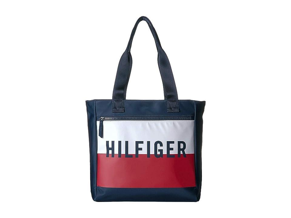 Tommy Hilfiger Keys Tote (Navy/Red/White) Handbags, Blue