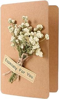 BESPORTBLE Cartões comemorativos de flores secas 3D feitas à mão Flores secas estreladas dobráveis eventos de casamento ca...