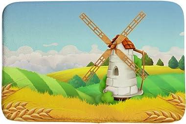 Alfombra de baño Ruchen con diseño de campo de trigo molino de viento, color amarillo rural pequeña alfombra antideslizante 7