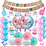 Gender Reveal Party, 60 Sexo Revelan Decoraciones De Fiesta para Baby Shower Fiesta De Cumpleaños, Incluye Pancartas y Sets De Globos, Disfraces para Vestir