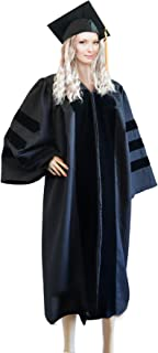 GRADWYSE Doctoral Cap and Gown 2019 Golden Tassel for PhD Graduates Faculty Common Fit Unisex Matte Unisex Black