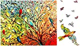 Magic Wooden Puzzles for Adults - Bird Jigsaw Puzzle with Unique Shaped 150 Pieces,Animal Puzzles for Adults and Kids Gifts(9.1x11 in) (Medium)