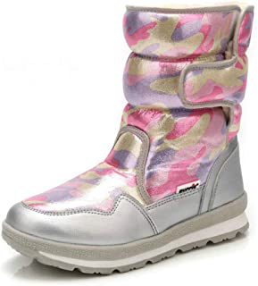 Impermeabili Stivali Invernali da Donna, Felpa Scarponi da Neve Pelliccia Tubo Caldo, Colorato Camuffamento Velcro Stivali...