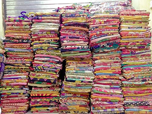 Mycrafts Indian Vintage Handmade Kantha Quilt, Bohemian Hippie Home Decor Kantha Bedding Quilt Saree Made Twin Gudri Ralli Dorm Decor Kantha Quilt Throw 10Pc Lot