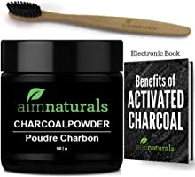 aimnaturals Best Canadian Natural Teeth Whitening Activated Charcoal Powder In Bulk (50g) + Charcoal Toothbrush +...