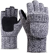 Bhwin Men's Winter Gloves Warm Wool Knitted Suede Fingerless Gloves With Cover
