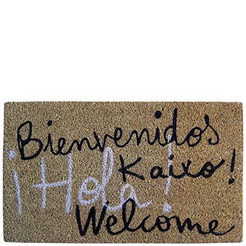 Laroom Felpudo diseño Bienvenidos Kaixo Hola Welcome, Jute & Base Antideslizante, Marrón, 40 x 70 cm