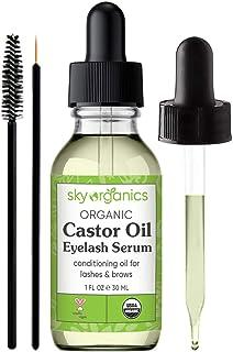 Organic Castor Oil Eyelash Serum by Sky Organics (1 oz) USDA Organic Cold-Pressed 100% Pure Castor Oil Natural Eyelash Ser...